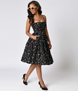 bernie_dexter_1950s_style_black_wonderdot_paris_cotton_swing_dress_1