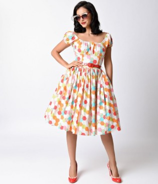 bernie_dexter_1950s_style_multicolor_honeycomb_jodi_cotton_swing_dress-1
