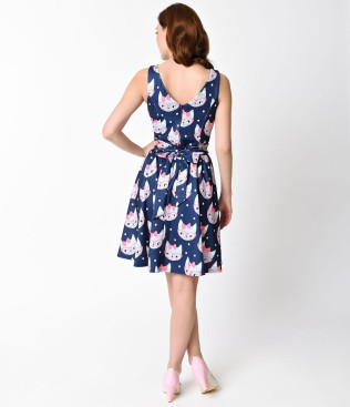 1950s_style_navy_blue_retro_cat_print_sleeveless_flare_tea_dress