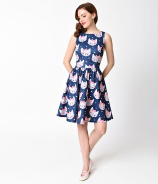 1950s_style_navy_blue_retro_cat_print_sleeveless_flare_tea_dress_4