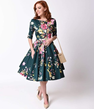 vintage_deep_green_seville_floral_half_sleeve_hepburn_swing_dress_1