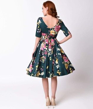 vintage_deep_green_seville_floral_half_sleeve_hepburn_swing_dress_3