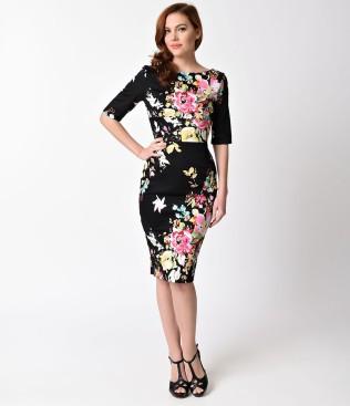 vintage_style_black_seville_floral_half_sleeve_hepburn_wiggle_dress