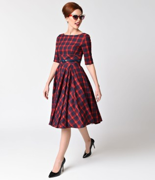 vintage_style_red_navy_blue_tartan_plaid_half_sleeve_hepburn_swing_dress