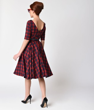 vintage_style_red_navy_blue_tartan_plaid_half_sleeve_hepburn_swing_dress_3