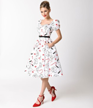 vixen_by_micheline_pitt_white_lipstick_print_cap_sleeve_swing_dress